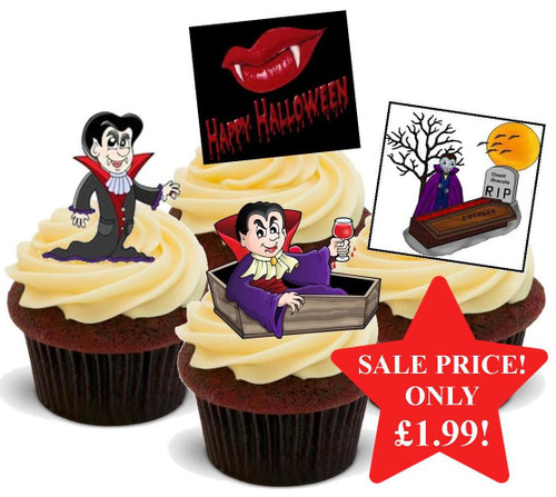 Halloween Count Dracula Mix -  12 Edible Stand Up Premium Wafer Card Cake Toppers Decorations
