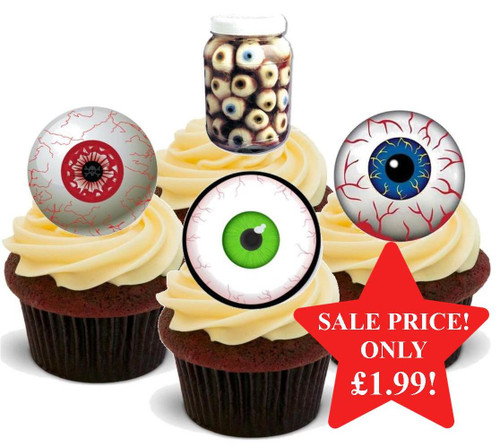 Halloween Eyeball Mix -  12 Edible Stand Up Premium Wafer Card Cake Toppers Decorations