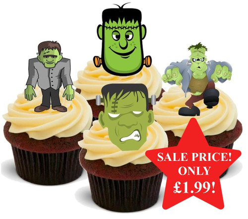 Halloween Frankenstein Mix -  12 Edible Stand Up Premium Wafer Card Cake Toppers Decorations