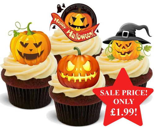 Halloween Scary Pumpkin Mix -  12 Edible Stand Up Premium Wafer Card Cake Toppers Decorations