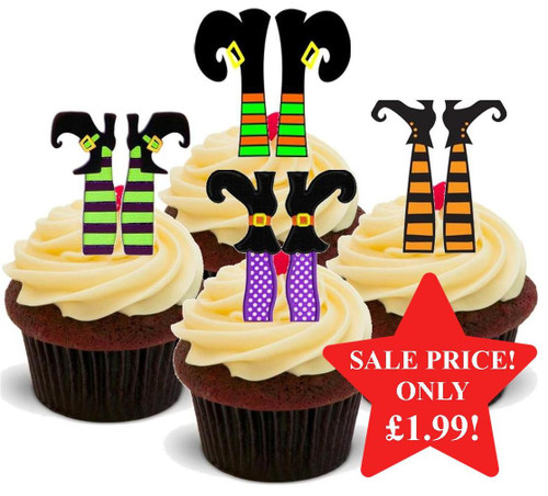 Halloween Witches Feet Mix -  12 Edible Stand Up Premium Wafer Card Cake Toppers Decorations