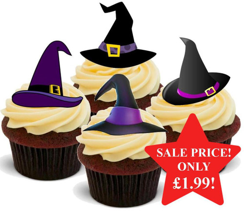 Halloween Witches Hat Purple Mix -  12 Edible Stand Up Premium Wafer Card Cake Toppers Decorations