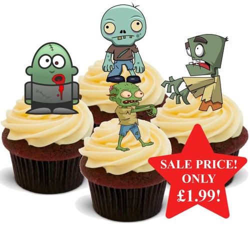 Halloween Zombie Mix -  12 Edible Stand Up Premium Wafer Card Cake Toppers Decorations