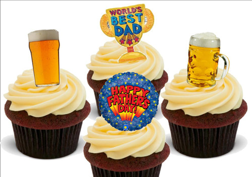 Happy Fathers Day Beer Lager Mix -  12 Edible Stand Up Premium Wafer Card Cake Toppers Decorations