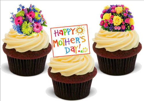Happy Mothers Day Flower Mix A -  12 Edible Stand Up Premium Wafer Card Cake Toppers Decorations