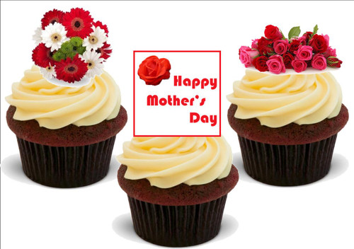 Happy Mothers Day Flower Mix C -  12 Edible Stand Up Premium Wafer Card Cake Toppers Decorations