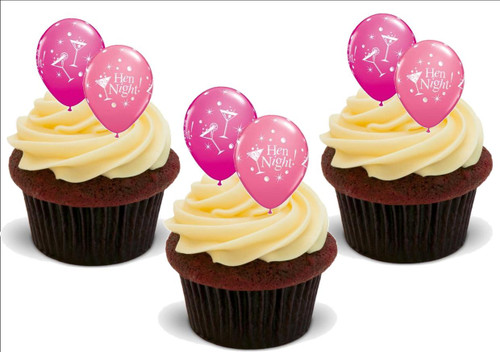 Hen Night Pink Balloons -  12 Edible Stand Up Premium Wafer Card Cake Toppers Decorations