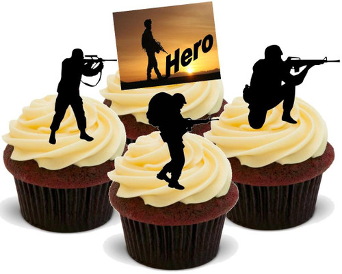 Hero Soldier Silhouette Mix -  12 Edible Stand Up Premium Wafer Card Cake Toppers Decorations