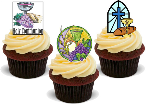 Holy Communion Mix A -  12 Edible Stand Up Premium Wafer Card Cake Toppers Decorations