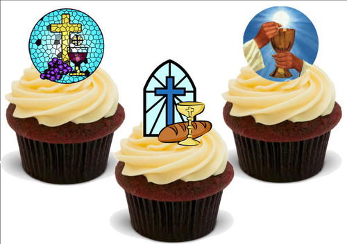 Holy Communion Mix B -  12 Edible Stand Up Premium Wafer Card Cake Toppers Decorations