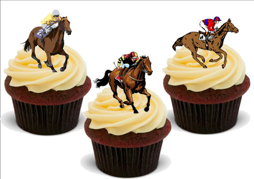 Horse Racing Horses Mix -  12 Edible Stand Up Premium Wafer Card Cake Toppers Decorations