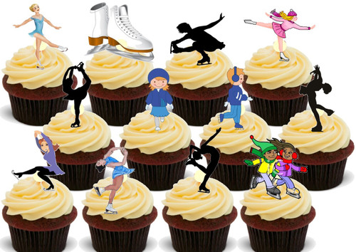 Ice Skating 36 Party Pack Mix -  36 Edible Stand Up Premium Wafer Card Cake Toppers Decorations