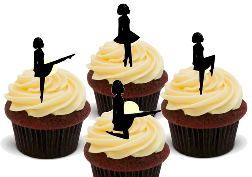 Irish Dancer Silhouette Mix  -  12 Edible Stand Up Premium Wafer Card Cake Toppers Decorations