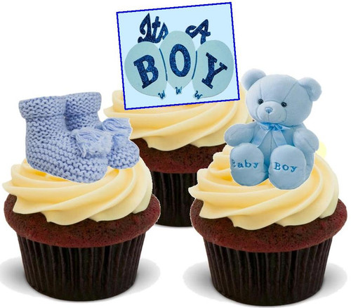 It's a Boy Trio Mix  -  12 Edible Stand Up Premium Wafer Card Cake Toppers Decorations