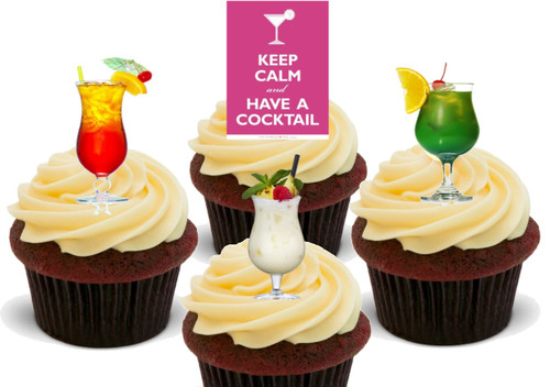 Keep Calm Cocktail Party Mix  -  12 Edible Stand Up Premium Wafer Card Cake Toppers Decorations