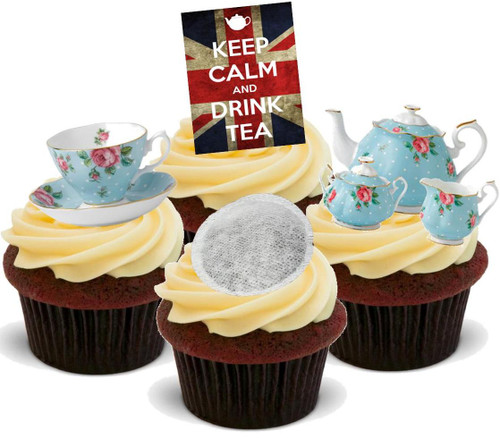 Keep Calm Drink Tea Union Jack Mix  -  12 Edible Stand Up Premium Wafer Card Cake Toppers Decorations