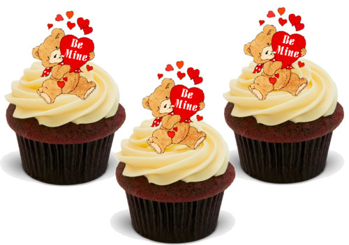 Valentines Be Mine Teddy Bear  -  12 Edible Stand Up Premium Wafer Card Cake Toppers Decorations