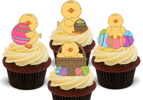 EASTER Cartoon Chick Mix with eggs -  12 Edible Stand Up Premium Wafer Card Cake Toppers Decorations