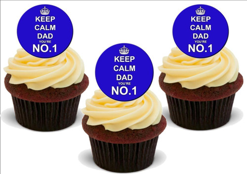 Keep Calm No1 Dad -  12 Edible Stand Up Premium Wafer Card Cake Toppers Decorations