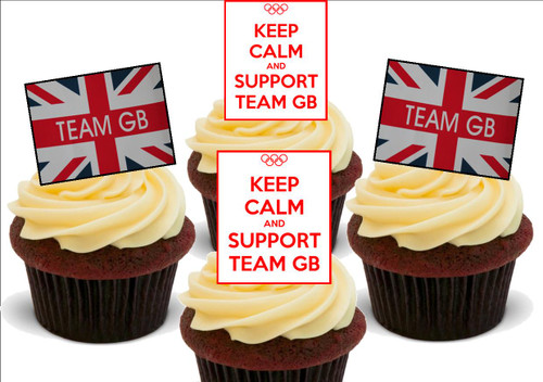 Keep Calm Support Team GB Mix -  12 Edible Stand Up Premium Wafer Card Cake Toppers Decorations