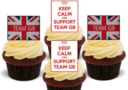 Keep Calm Support Team GB Party Mix -  12 Edible Stand Up Premium Wafer Card Cake Toppers Decorations