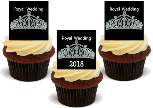 Royal Wedding 2018 Tiara Design -  12 Edible Stand Up Premium Wafer Card Cake Toppers Decorations