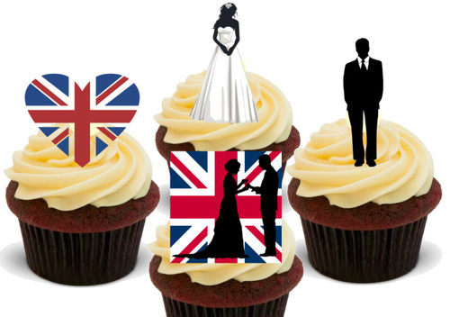 Royal wedding English Union jack mix -  12 Edible Stand Up Premium Wafer Card Cake Toppers Decorations