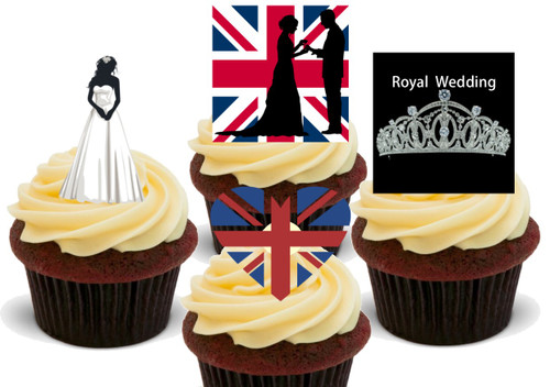 Royal wedding Tiara Mix -  12 Edible Stand Up Premium Wafer Card Cake Toppers Decorations