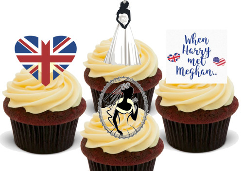 Royal wedding when Harry met Meghan -  12 Edible Stand Up Premium Wafer Card Cake Toppers Decorations