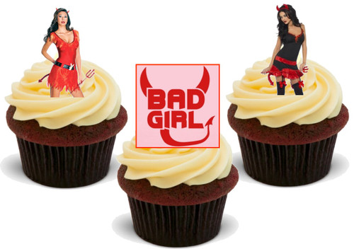 Valentine Bad Girl Mix -  12 Edible Stand Up Premium Wafer Card Cake Toppers Decorations