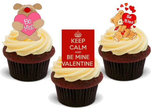 Valentine Be Mine Mix -  12 Edible Stand Up Premium Wafer Card Cake Toppers Decorations