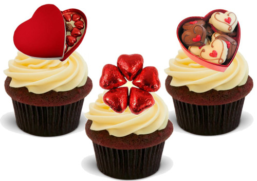 Valentine Chocolate Mix -  12 Edible Stand Up Premium Wafer Card Cake Toppers Decorations