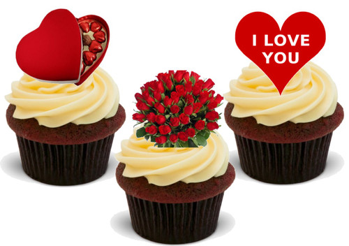 Valentine Flowers Chocs Heart Mix -  12 Edible Stand Up Premium Wafer Card Cake Toppers Decorations