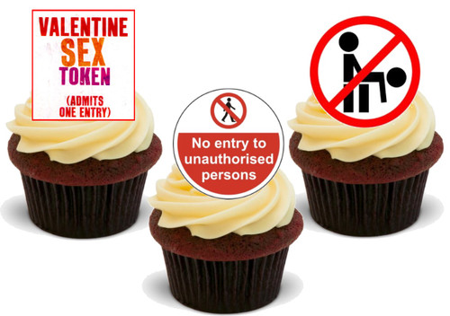 Valentine Sex Token Mix -  12 Edible Stand Up Premium Wafer Card Cake Toppers Decorations