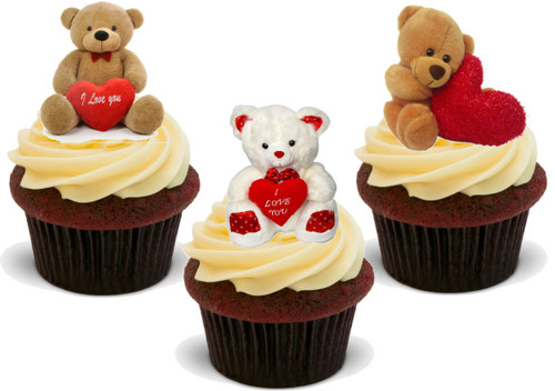 Valentine Teddy Trio Mix A -  12 Edible Stand Up Premium Wafer Card Cake Toppers Decorations