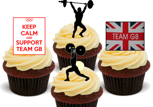 Olympics Team Gb Weight Lifting Mix 12 Edible Stand Up Premium