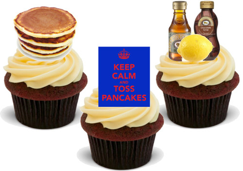 Pancake Day Mix A -  12 Edible Stand Up Premium Wafer Card Cake Toppers Decorations