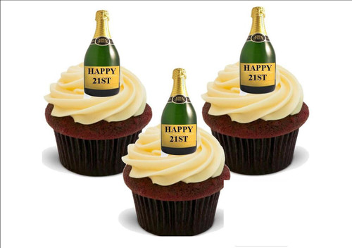 Personalised Champagne Bottle Happy 21st -  12 Edible Stand Up Premium Wafer Card Cake Toppers Decorations