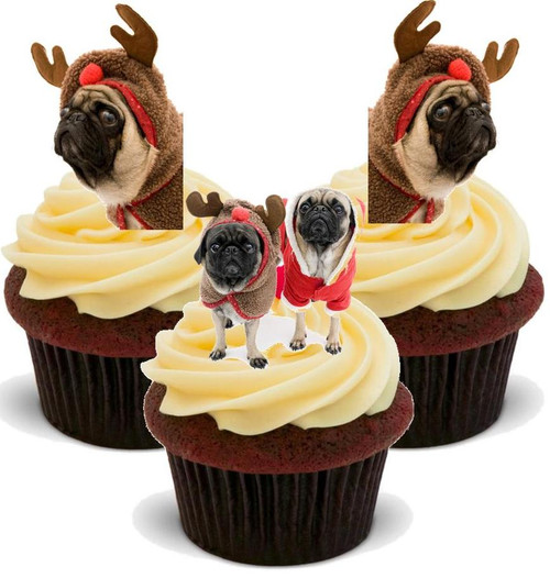 Pug Reindeer Mix -  12 Edible Stand Up Premium Wafer Card Cake Toppers Decorations