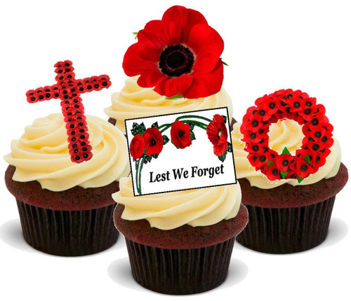 Rememberence Sunday Poppy Mix -  12 Edible Stand Up Premium Wafer Card Cake Toppers Decorations