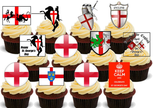 St. Georges Day 12 Party Pack -  12 Edible Stand Up Premium Wafer Card Cake Toppers Decorations