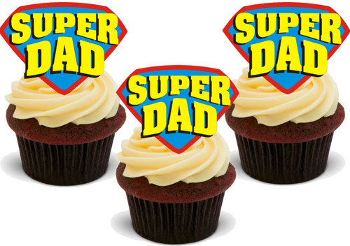Super Dad -  12 Edible Stand Up Premium Wafer Card Cake Toppers Decorations