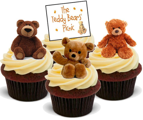 Teddy Bears Picnic Mix  -  12 Edible Stand Up Premium Wafer Card Cake Toppers Decorations