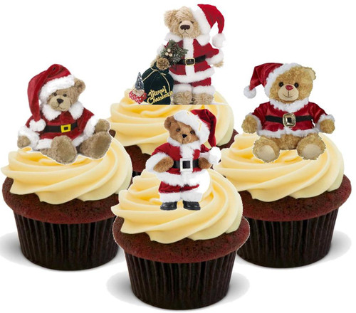 Teddy Bears Santa Hats Mix  -  12 Edible Stand Up Premium Wafer Card Cake Toppers Decorations