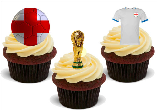 Football World Cup 2018 England Trophy Trio Mix -  12 Edible Stand Up Premium Wafer Card Cake Toppers Decorations