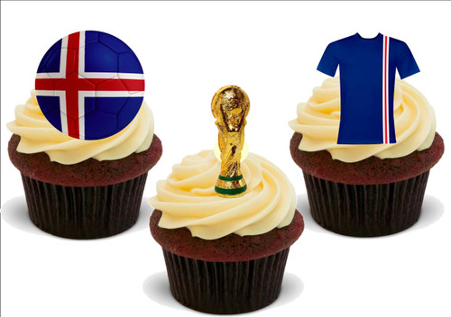 NOVELTY Euro 2016 ICELAND Football Party Pack Mix Edible Cake Toppers Decoration