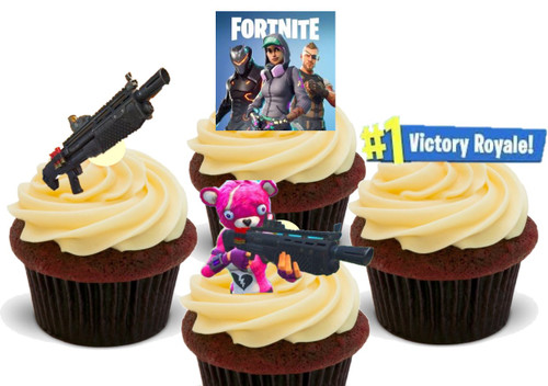 Fortnite Shotgun pack -  12 Edible Stand Up Premium Wafer Card Cake Toppers Decorations