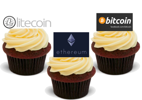 Cryptocurrency Bitcoin Litecoin Ethereum -  12 Edible Stand Up Premium Wafer Card Cake Toppers Decorations
