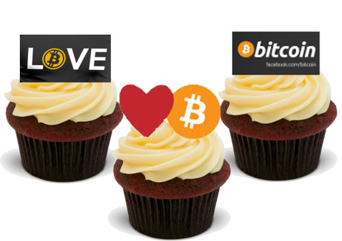 Love Bitcoin   -  12 Edible Stand Up Premium Wafer Card Cake Toppers Decorations