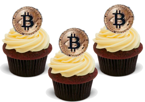 Bitcoin token  -  12 Edible Stand Up Premium Wafer Card Cake Toppers Decorations